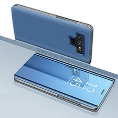 Coque Portefeuille Livre Cuir Miroir Housse Etui Clapet pour Samsung Galaxy Note 9 Bleu