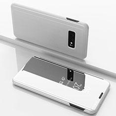 Coque Portefeuille Livre Cuir Miroir Housse Etui Clapet pour Samsung Galaxy S10e Blanc