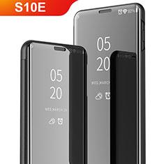 Coque Portefeuille Livre Cuir Miroir Housse Etui Clapet pour Samsung Galaxy S10e Noir