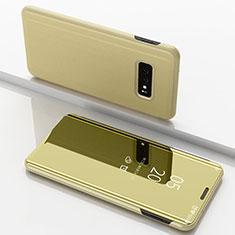 Coque Portefeuille Livre Cuir Miroir Housse Etui Clapet pour Samsung Galaxy S10e Or
