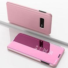 Coque Portefeuille Livre Cuir Miroir Housse Etui Clapet pour Samsung Galaxy S10e Or Rose