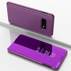 Coque Portefeuille Livre Cuir Miroir Housse Etui Clapet pour Samsung Galaxy S10e Rose Rouge