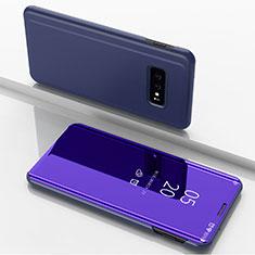 Coque Portefeuille Livre Cuir Miroir Housse Etui Clapet pour Samsung Galaxy S10e Violet