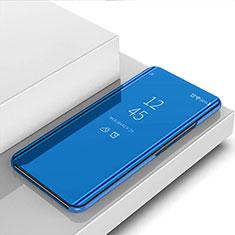 Coque Portefeuille Livre Cuir Miroir Housse Etui Clapet pour Samsung Galaxy S21 Ultra 5G Bleu