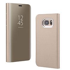 Coque Portefeuille Livre Cuir Miroir Housse Etui Clapet pour Samsung Galaxy S7 Edge G935F Or