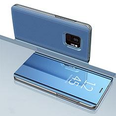 Coque Portefeuille Livre Cuir Miroir Housse Etui Clapet pour Samsung Galaxy S9 Bleu