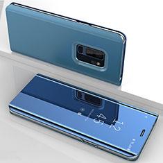 Coque Portefeuille Livre Cuir Miroir Housse Etui Clapet pour Samsung Galaxy S9 Plus Bleu