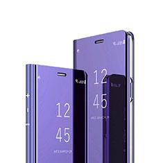 Coque Portefeuille Livre Cuir Miroir Housse Etui Clapet pour Sony Xperia 1 Violet