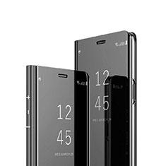 Coque Portefeuille Livre Cuir Miroir Housse Etui Clapet pour Sony Xperia XZ3 Noir