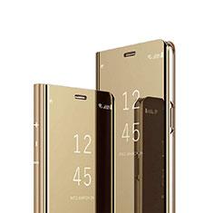 Coque Portefeuille Livre Cuir Miroir Housse Etui Clapet pour Sony Xperia XZ3 Or