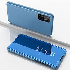 Coque Portefeuille Livre Cuir Miroir Housse Etui Clapet pour Xiaomi Mi 10T 5G Bleu