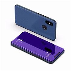 Coque Portefeuille Livre Cuir Miroir Housse Etui Clapet pour Xiaomi Mi 8 Bleu