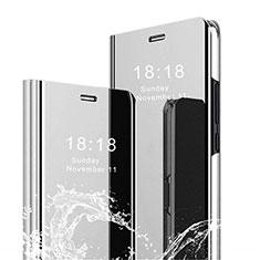 Coque Portefeuille Livre Cuir Miroir Housse Etui Clapet pour Xiaomi Mi 8 Pro Global Version Argent