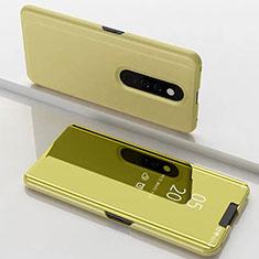 Coque Portefeuille Livre Cuir Miroir Housse Etui Clapet pour Xiaomi Mi 9T Or