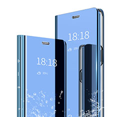 Coque Portefeuille Livre Cuir Miroir Housse Etui Clapet pour Xiaomi Mi A2 Bleu