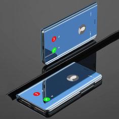 Coque Portefeuille Livre Cuir Miroir Housse Etui Clapet pour Xiaomi Mi A3 Bleu