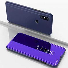 Coque Portefeuille Livre Cuir Miroir Housse Etui Clapet pour Xiaomi Mi Mix 3 Bleu