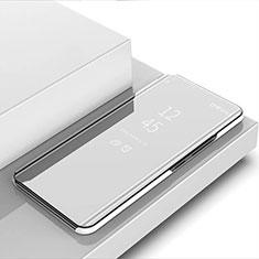 Coque Portefeuille Livre Cuir Miroir Housse Etui Clapet pour Xiaomi Mi Note 10 Lite Argent