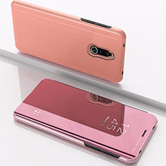 Coque Portefeuille Livre Cuir Miroir Housse Etui Clapet pour Xiaomi Redmi 8 Or Rose