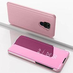 Coque Portefeuille Livre Cuir Miroir Housse Etui Clapet pour Xiaomi Redmi Note 9 Or Rose