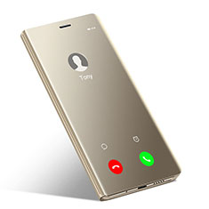 Coque Portefeuille Livre Cuir Miroir Housse Etui pour Huawei Honor 10 Or
