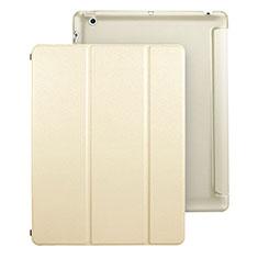 Coque Portefeuille Livre Cuir pour Apple iPad 3 Or