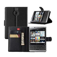 Coque Portefeuille Livre Cuir pour Blackberry Passport Silver Edition Noir