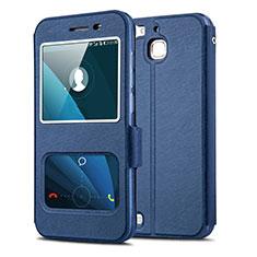 Coque Portefeuille Livre Cuir pour Huawei Enjoy 5S Bleu