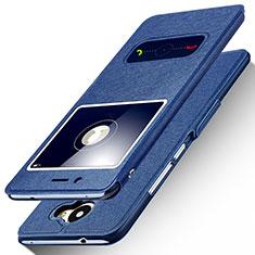 Coque Portefeuille Livre Cuir pour Huawei Enjoy 7 Plus Bleu