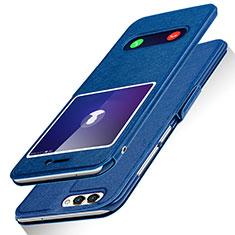 Coque Portefeuille Livre Cuir pour Huawei Enjoy 7S Bleu