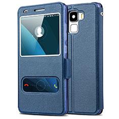 Coque Portefeuille Livre Cuir pour Huawei Honor 7 Dual SIM Bleu
