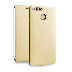 Coque Portefeuille Livre Cuir pour Huawei Honor 7X Or