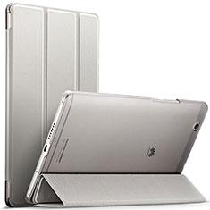 Coque Portefeuille Livre Cuir pour Huawei MediaPad M3 Argent