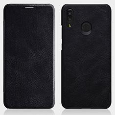Coque Portefeuille Livre Cuir pour Huawei P Smart+ Plus Noir