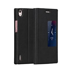 Coque Portefeuille Livre Cuir pour Huawei P7 Dual SIM Noir