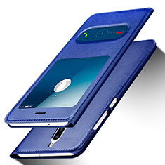 Coque Portefeuille Livre Cuir pour Huawei Rhone Bleu