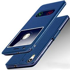 Coque Portefeuille Livre Cuir pour Huawei Y6 II 5.5 Bleu