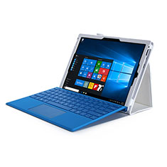 Coque Portefeuille Livre Cuir pour Microsoft Surface Pro 4 Blanc