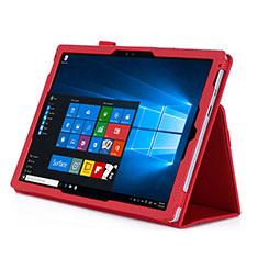 Coque Portefeuille Livre Cuir pour Microsoft Surface Pro 4 Rouge