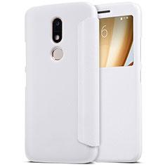 Coque Portefeuille Livre Cuir pour Motorola Moto M XT1662 Blanc
