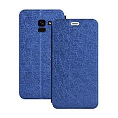 Coque Portefeuille Livre Cuir pour Samsung Galaxy A5 (2018) A530F Bleu