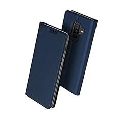 Coque Portefeuille Livre Cuir pour Samsung Galaxy A6 Plus (2018) Bleu