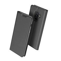 Coque Portefeuille Livre Cuir pour Samsung Galaxy A6 Plus Noir