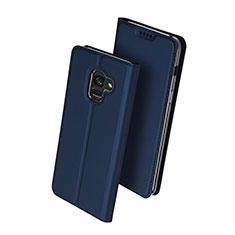 Coque Portefeuille Livre Cuir pour Samsung Galaxy A8+ A8 Plus (2018) A730F Bleu