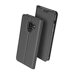Coque Portefeuille Livre Cuir pour Samsung Galaxy A8+ A8 Plus (2018) A730F Noir