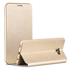 Coque Portefeuille Livre Cuir pour Samsung Galaxy C7 Pro C7010 Or