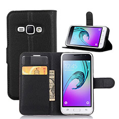 Coque Portefeuille Livre Cuir pour Samsung Galaxy J1 (2016) J120F Noir