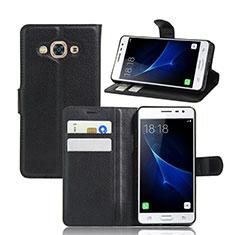 Coque Portefeuille Livre Cuir pour Samsung Galaxy J3 Pro (2016) J3110 Noir