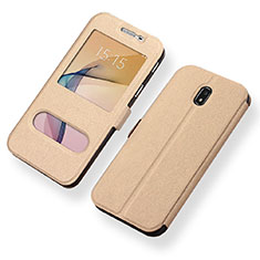 Coque Portefeuille Livre Cuir pour Samsung Galaxy J5 (2017) Duos J530F Or