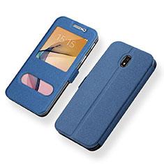 Coque Portefeuille Livre Cuir pour Samsung Galaxy J5 (2017) SM-J750F Bleu